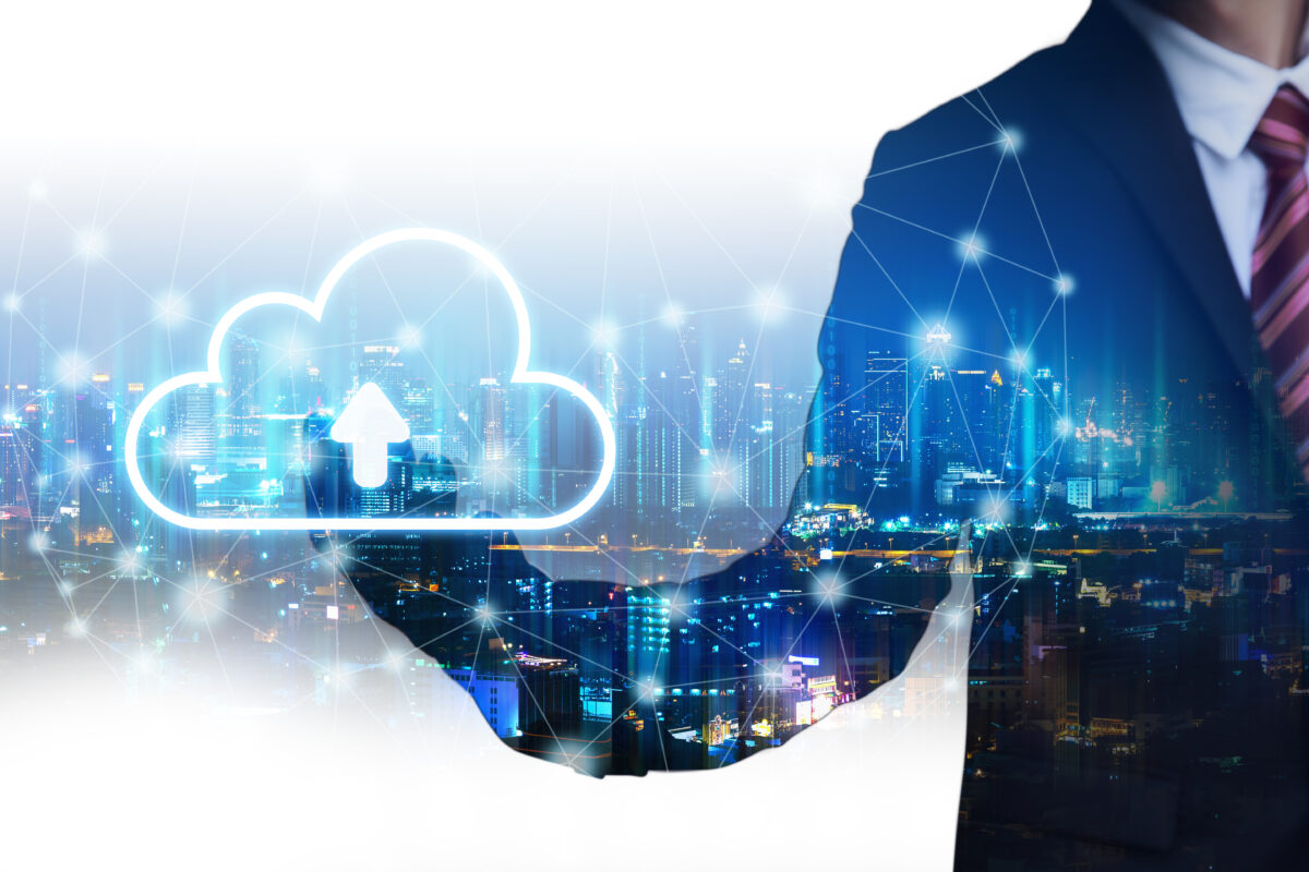 Double exposure It backup cloud network connection concept, Business man with technology graphic and future city background at night